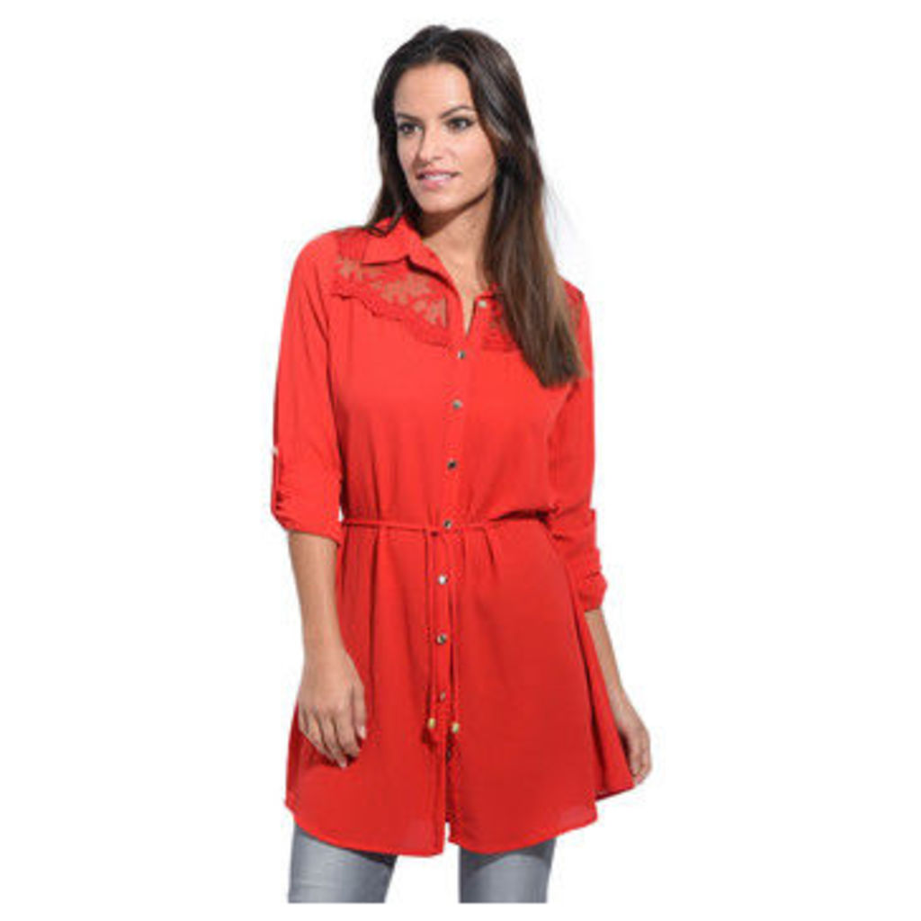 Anabelle  Long shirt, lace neckline  women's Shirt in Red