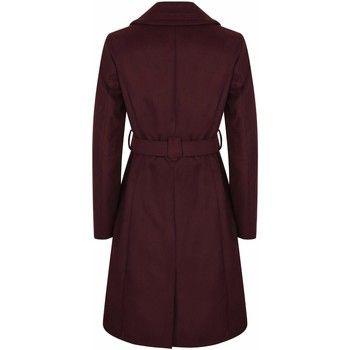 Anastasia  Womens Burgandy Belted Wrap Winter Coat  women's Coat in Red
