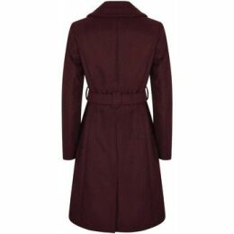 Anastasia  Womens Burgandy Belted Wrap Winter Coat  women's Coat in Red