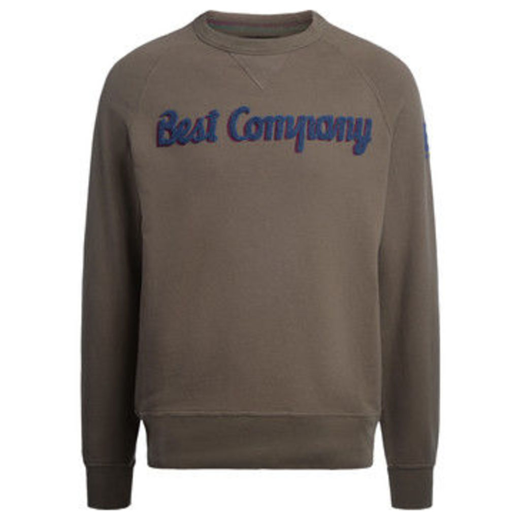 Best Company  hunter green and blue cotton roundneck fleece  women's Sweatshirt in Green