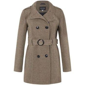 De La Creme  Wool Belted Winter Coat  women's Trench Coat in Brown