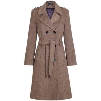De La Creme  Wool Belted Long Military Trench Coat  women's Trench Coat in Brown