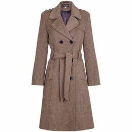 De La Creme  Wool Belted Long Military Trench Coat  women's Trench Coat in Brown