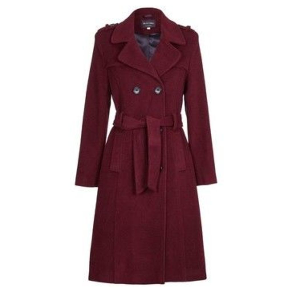 De La Creme  Wool Belted Long Military Trench Coat  women's Trench Coat in Red