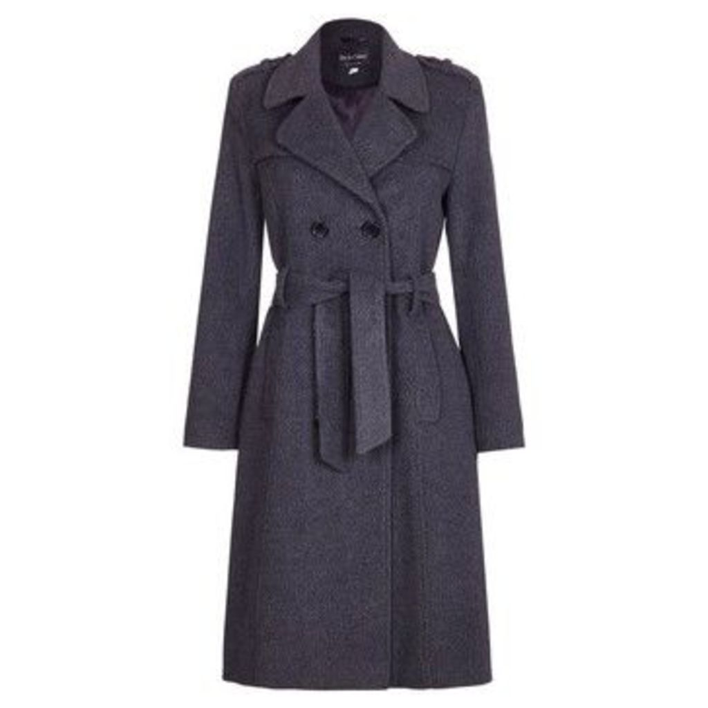 De La Creme  Wool Belted Long Military Trench Coat  women's Trench Coat in Grey