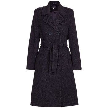De La Creme  Winter Wool Belted Long Military Trench Coat  women's Trench Coat in Black