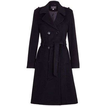 De La Creme  Wool   Cashmere Belted Long Military Trench Coat  women's Trench Coat in Black