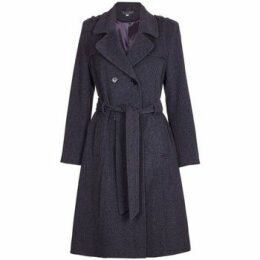 De La Creme  Winter Wool   Cashmere Belted Long Military Trench Coat  women's Trench Coat in Grey