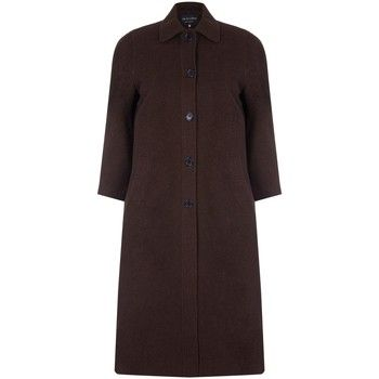 David Barry  Single Breasted Wool and Cashmere Blend Long Winter Coat  women's Coat in Brown