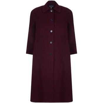David Barry  Single Breasted Wool and Cashmere Blend Long Winter Coat  women's Coat in Red