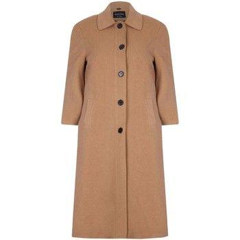 De La Creme  Single Breasted Wool and Cashmere Blend Long Winter Coat  women's Coat in Beige