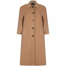 De La Creme  Single Breasted Wool and Cashmere Blend Long Winter Coat  women's Coat in Beige