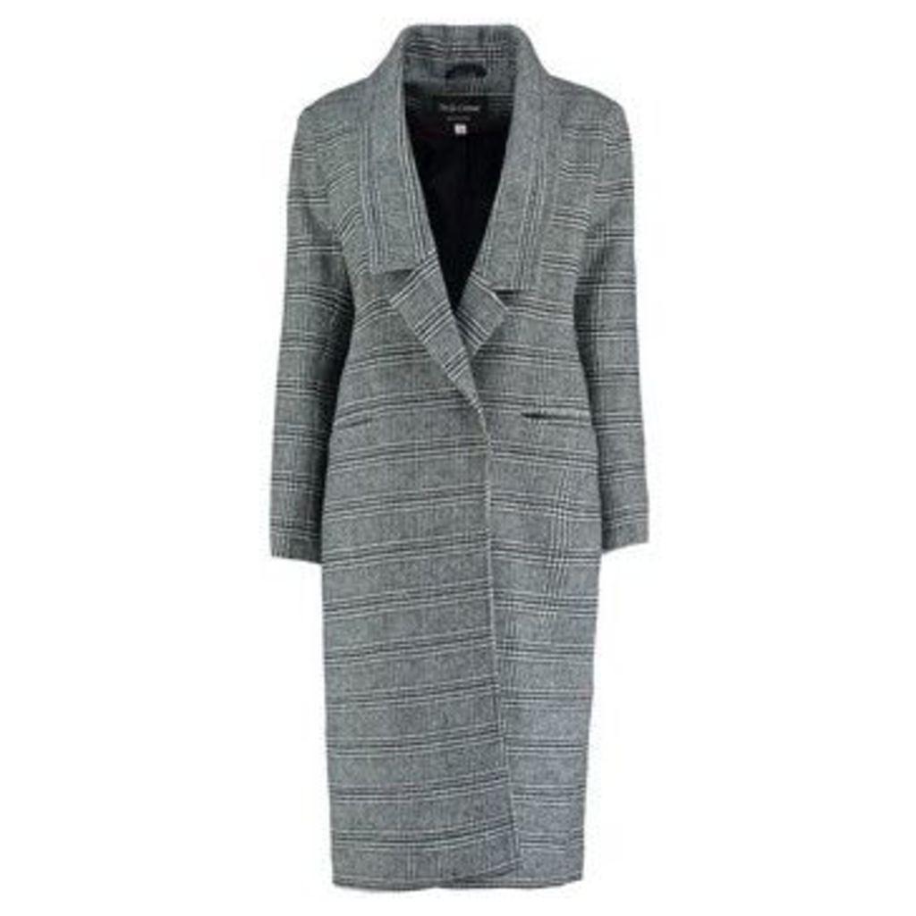 De La Creme  Prince Wales Check s Winter Wool Long Coat  women's Coat in Black