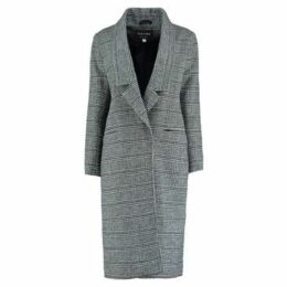 De La Creme  Prince Wales Check s Winter Wool Long Coat  women's Coat in Black