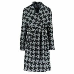 De La Creme  Large Collar Check Coat  women's Coat in Black
