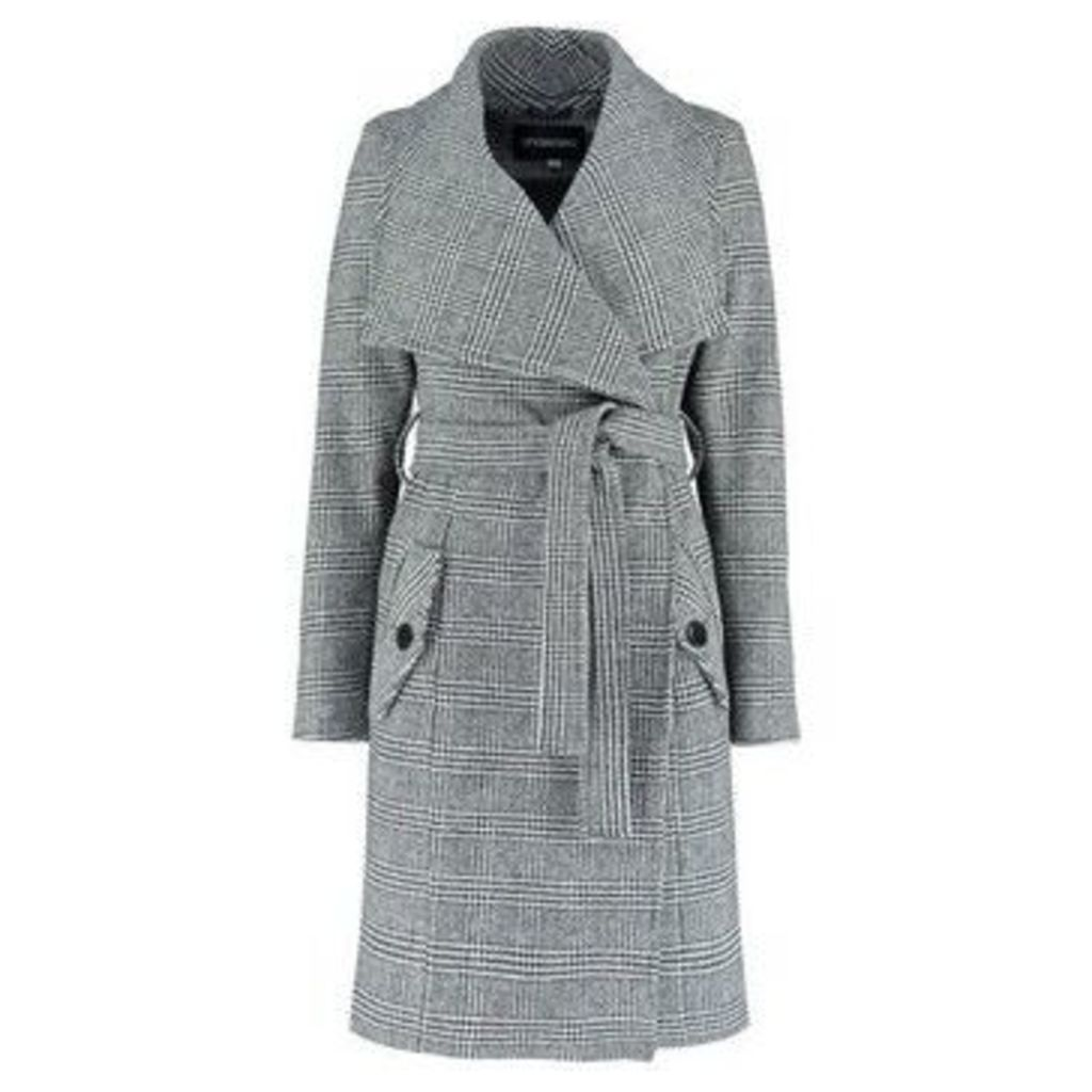 De La Creme  Large Collar  Prince of Wales Check s Winter Belted Wrap Coat  women's Coat in Black