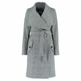 De La Creme  Large Collar  Prince of Wales Check s Winter Belted Wrap Coat  women's Coat in Black