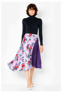 Womens Ghost London Lilac Carolyn Satin Floral Spot Skirt -  Purple