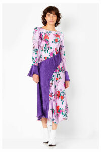 Womens Ghost London Lilac Carly Satin Floral Spot Dress -  Purple