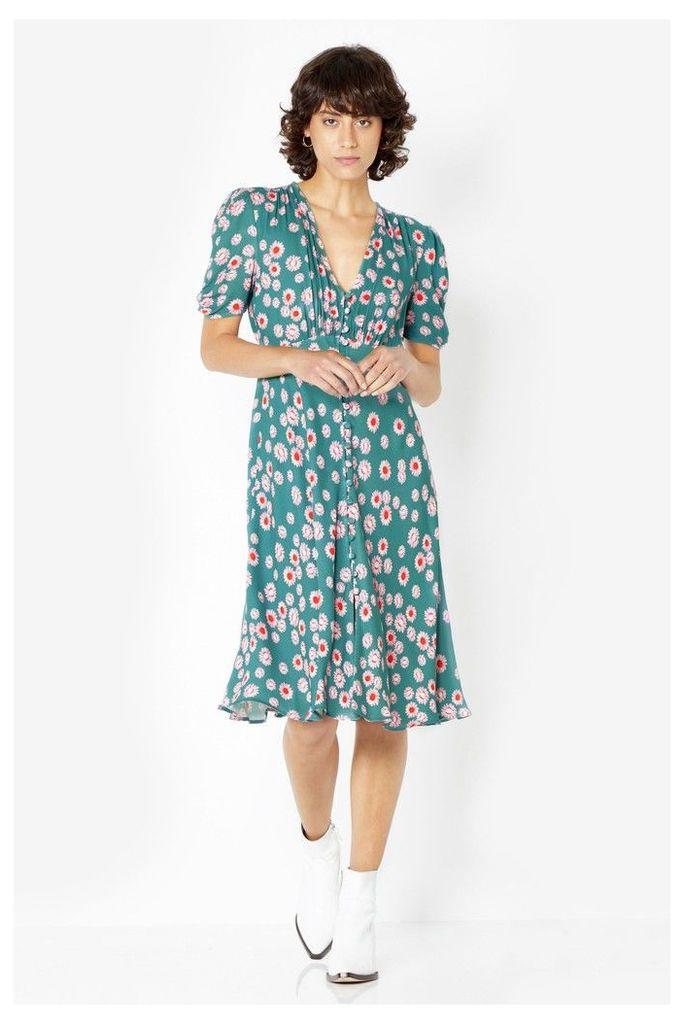 Womens Ghost London Blue Printed Sabrina Tea Dress -  Blue