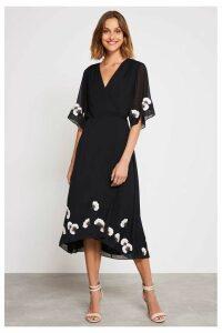 Womens Mint Velvet Black Embroidered Floral Wrap Dress -  Black