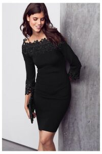 Womens Next Black Lace Bardot Dress -  Black