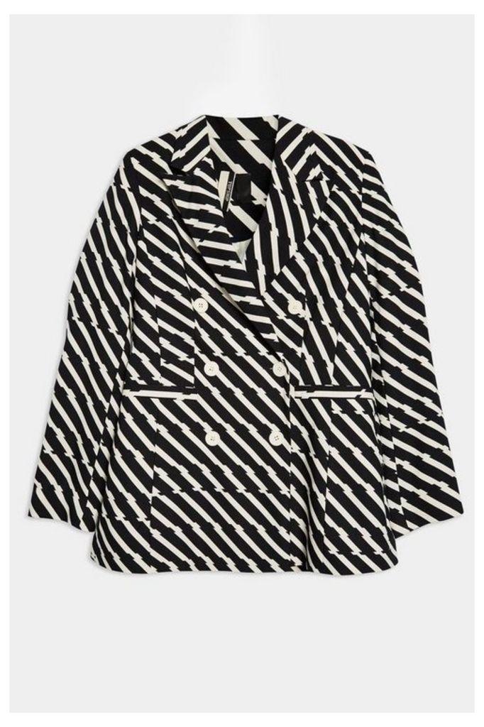 Womens Zig Zag Double Breasted Jacket - Monochrome, Monochrome