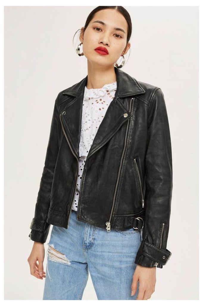 Womens Tall Leather Jacket - Black, Black