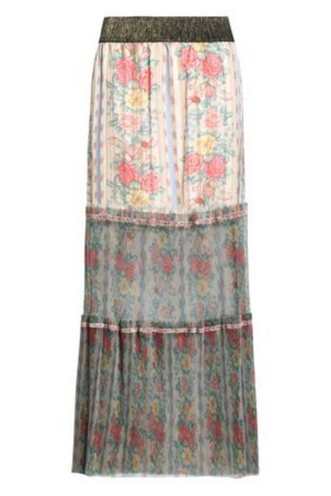 Anna Sui Woman Pleated Floral-print Satin-jacquard And Tulle Maxi Skirt Ivory Size XS