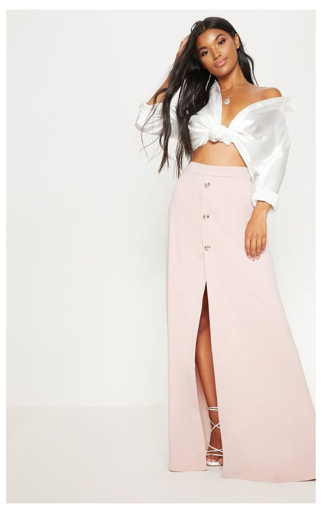Blush Satin Button Front Maxi Skirt, Pink