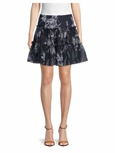 Inky Floral Silk A-Line Skirt