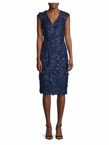V-Front Embroidered Sheath Dress