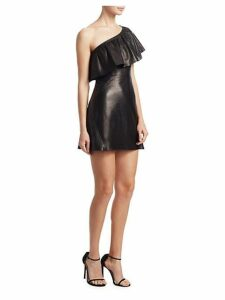 Kahlo One-Shoulder Leather Flounce Dress