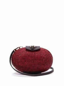 Khokho - Lindi Minaudière Leather Trimmed Basket Bag - Womens - Burgundy