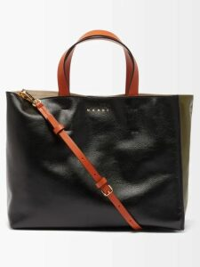 Khokho - Lindi Minaudière Leather Trimmed Basket Bag - Womens - Black Cream