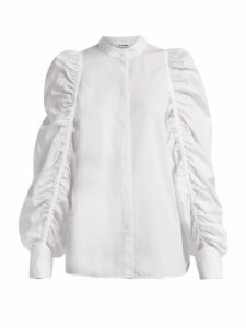 Jil Sander - Ruched Sleeve Cotton Shirt - Womens - White