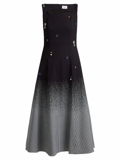 Erdem - Polly Crystal Embellished Cotton Blend Dress - Womens - Black Multi