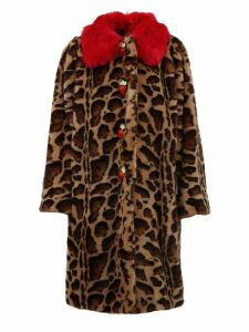 Dolce & Gabbana Animalier Coat In Faux Fur