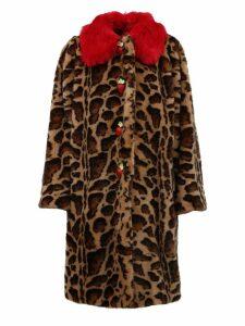 Dolce & Gabbana Animalier Coat In Faux Fur