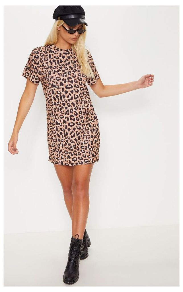 Basic Leopard Short Sleeve T Shirt Dress, Animal