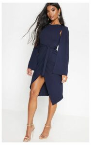 Navy Cape Style Wrap Midi Dress, Blue