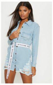 Light Wash Super Distress Denim Shirt Dress, Light Blue Wash