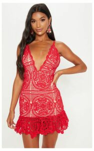 Red Strappy Thick Lace Frill Hem Bodycon Dress, Red