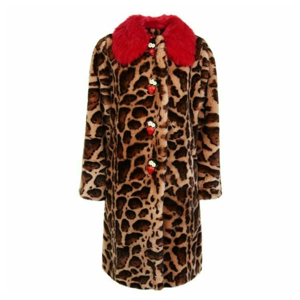 DOLCE AND GABBANA Leopard Print Faux Fur Coat