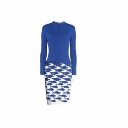 Rumour London - Sea & Sky Blue Knitted Jacquard Dress