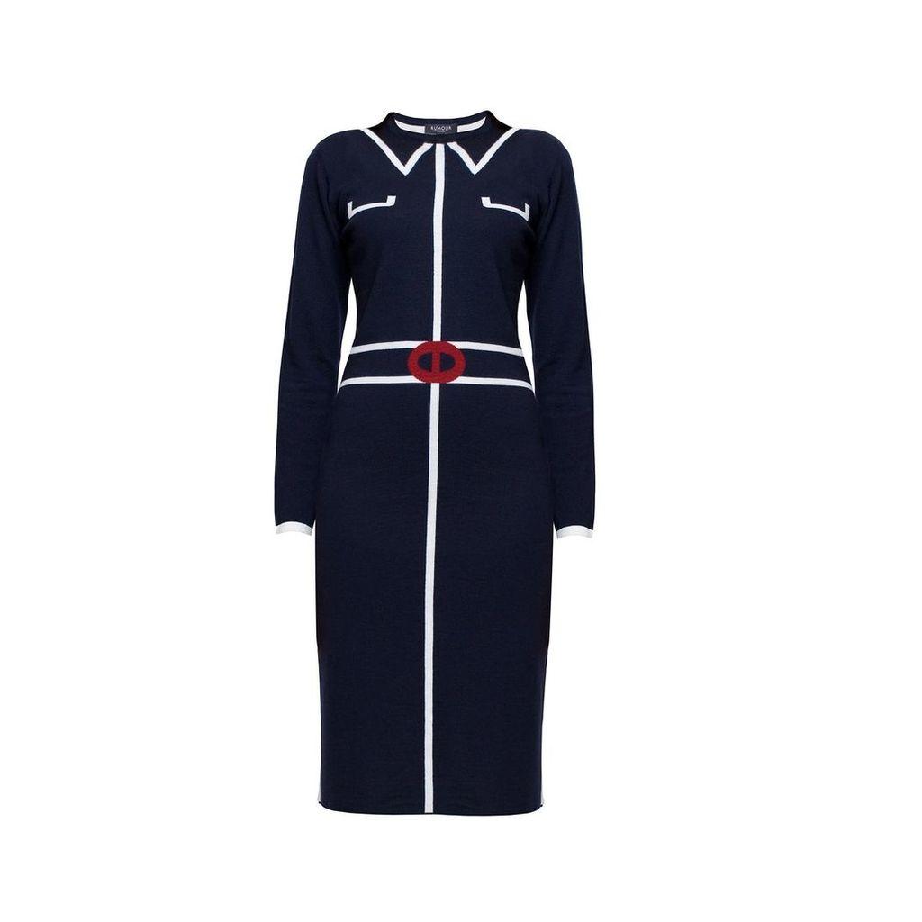 Rumour London - Claire Midnight Blue Jacquard Dress
