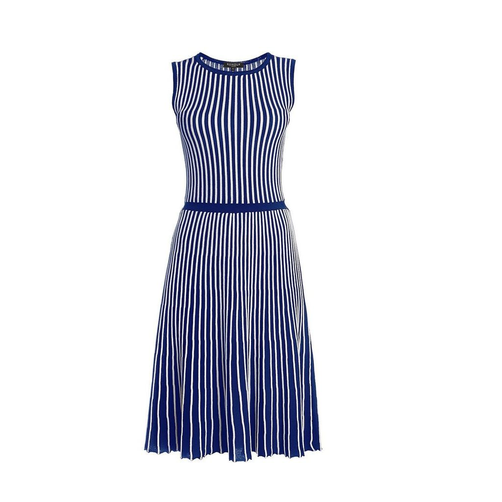 Rumour London - Sienna Blue Striped Fit-And-Flare Dress