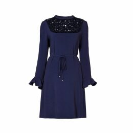 Rumour London - Lavinia Lace Panelled Cady Dress