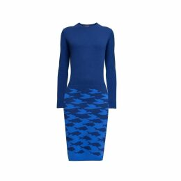 Rumour London - Sea & Sky Two-Tone Blue Jacquard Knitted Dress
