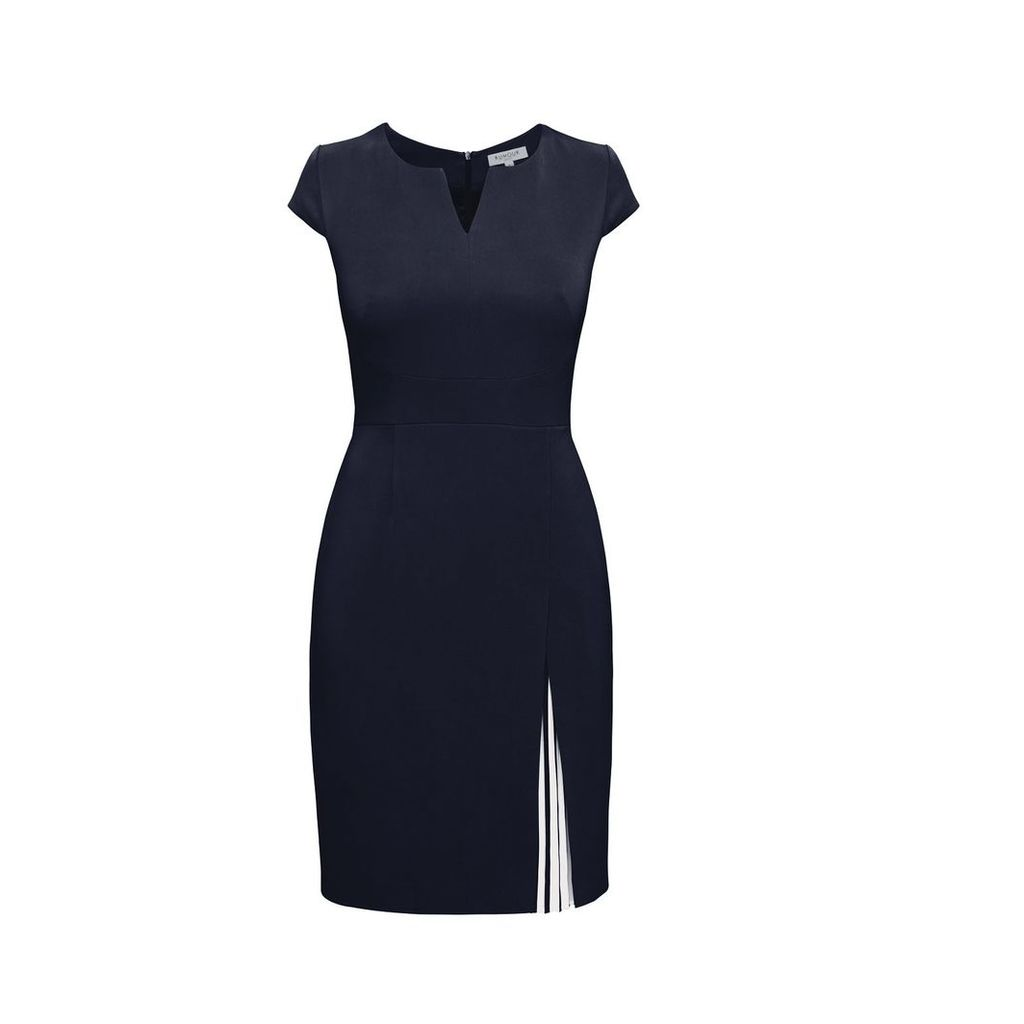 Rumour London - Mariana Midnight Blue Stretch Crepe Dress With Capped Shoulder & Pleated Deatail